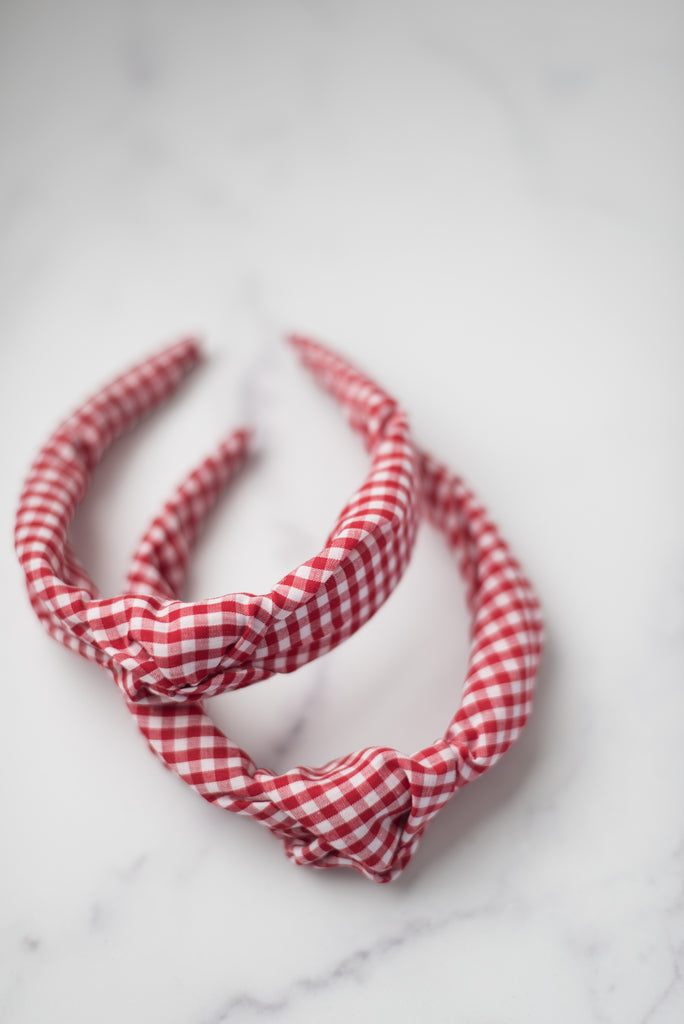 The Tiny Tassel Headband in Red Gingham