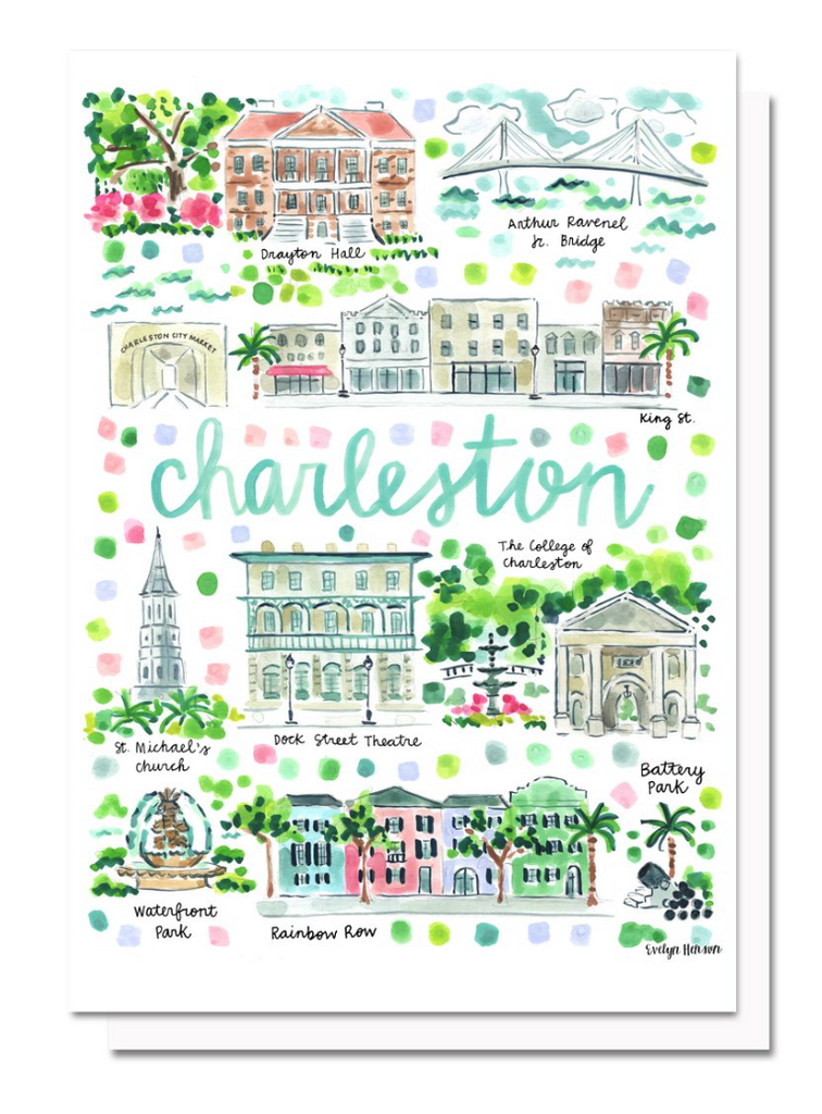 Charleston Map Greeting Card By Evelyn Henson