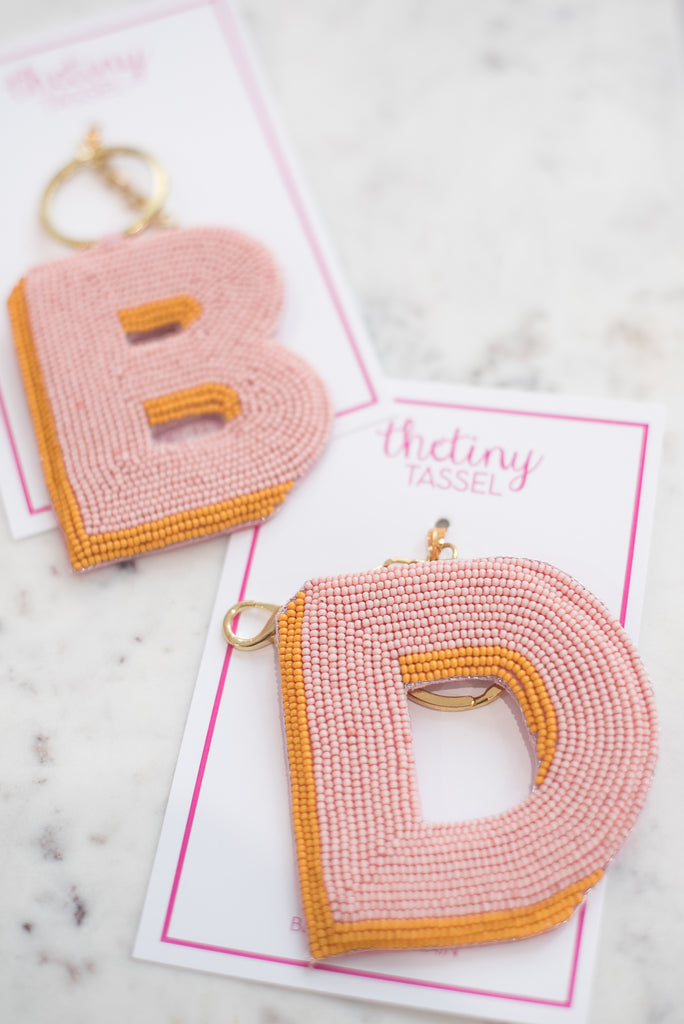 The Elsey Keychain in Light Pink & Mustard