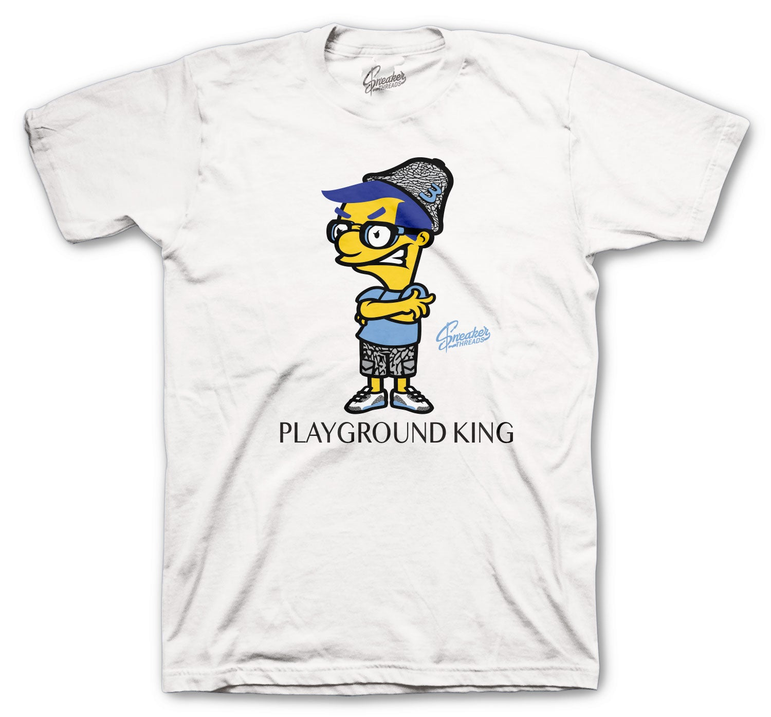 Jordan 3 UNC Shirt - Playground King - White