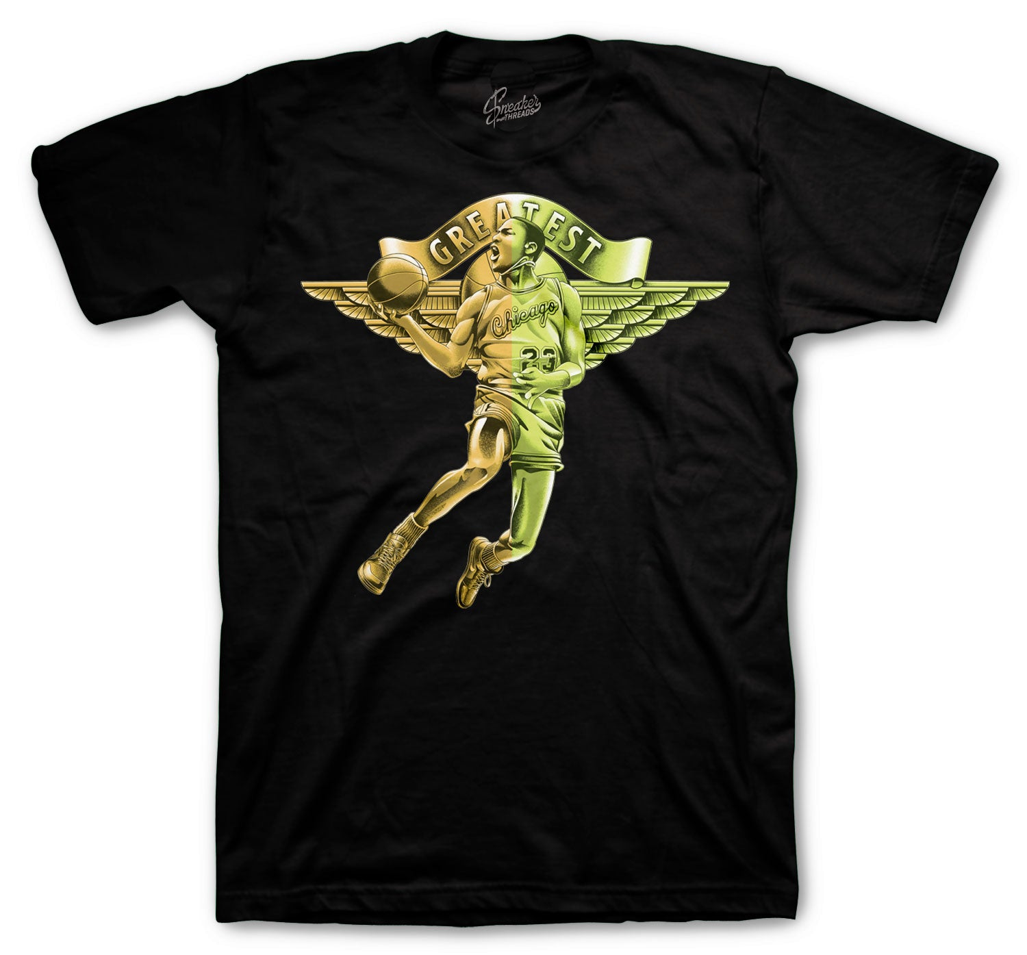 Shirts for men designed to match the Jordan 1 volt gold sneaker collection