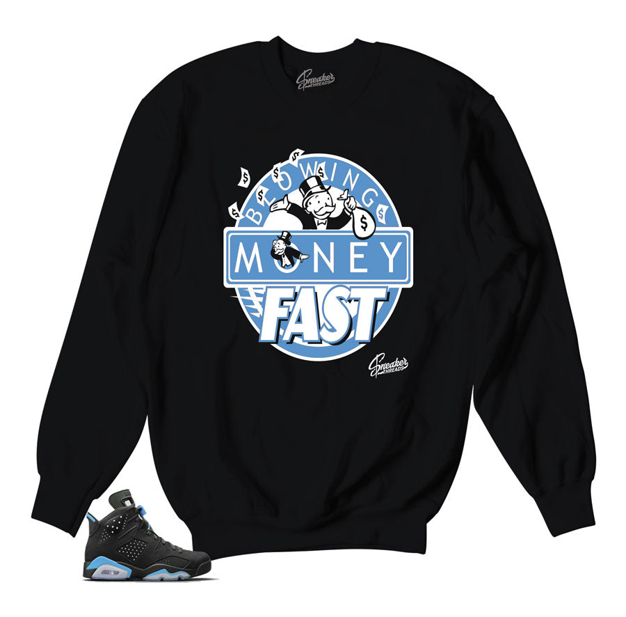 0274c2bd898e07 Home Jordan 6 UNC Sweater - Blowing Money Fast - Black. Share