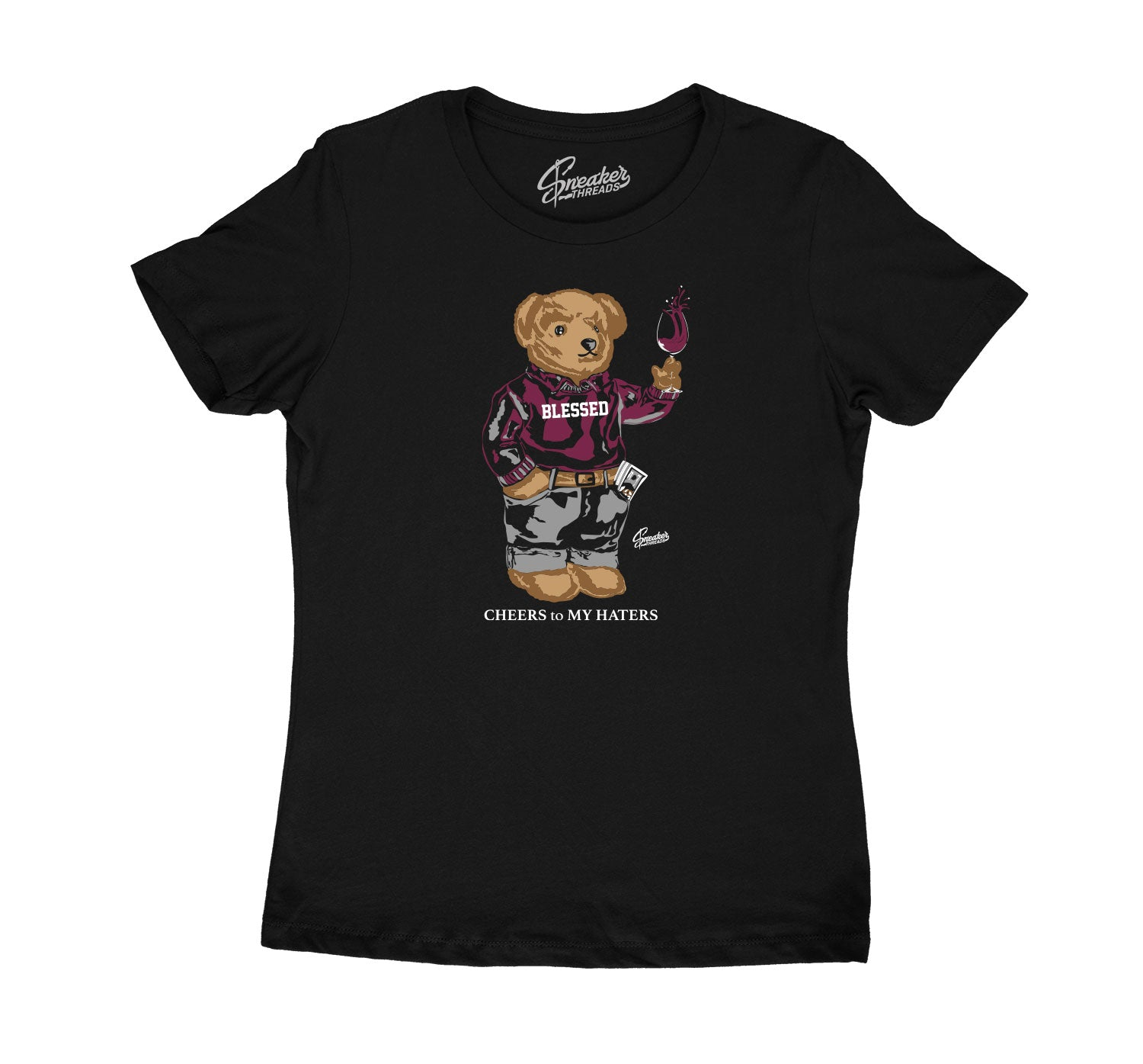 Womens Singles Day 6 Shirt - Cheers Bear - Black