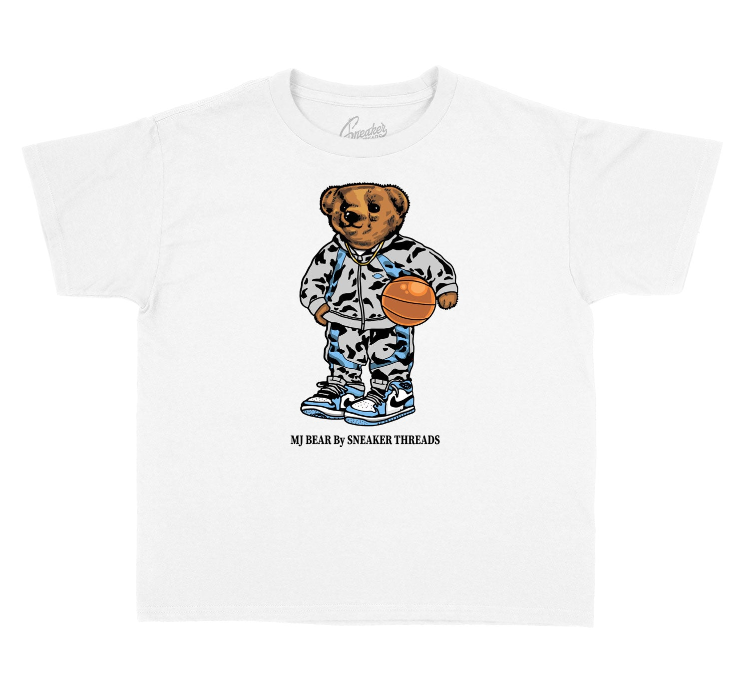 Kids University Blue 1 Shirt - MJ Bear - White