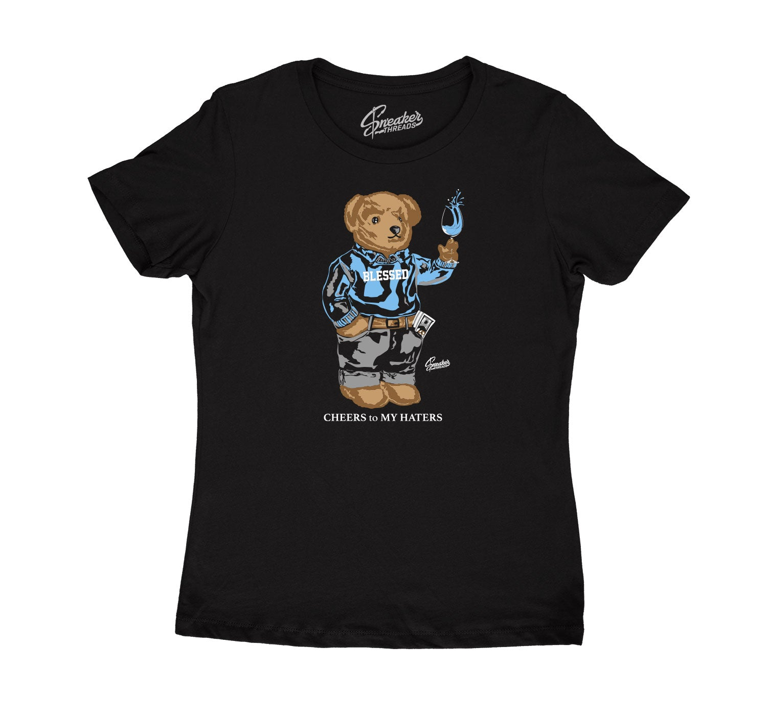 Womens University Blue 9 Shirt - Cheers Bear - Black