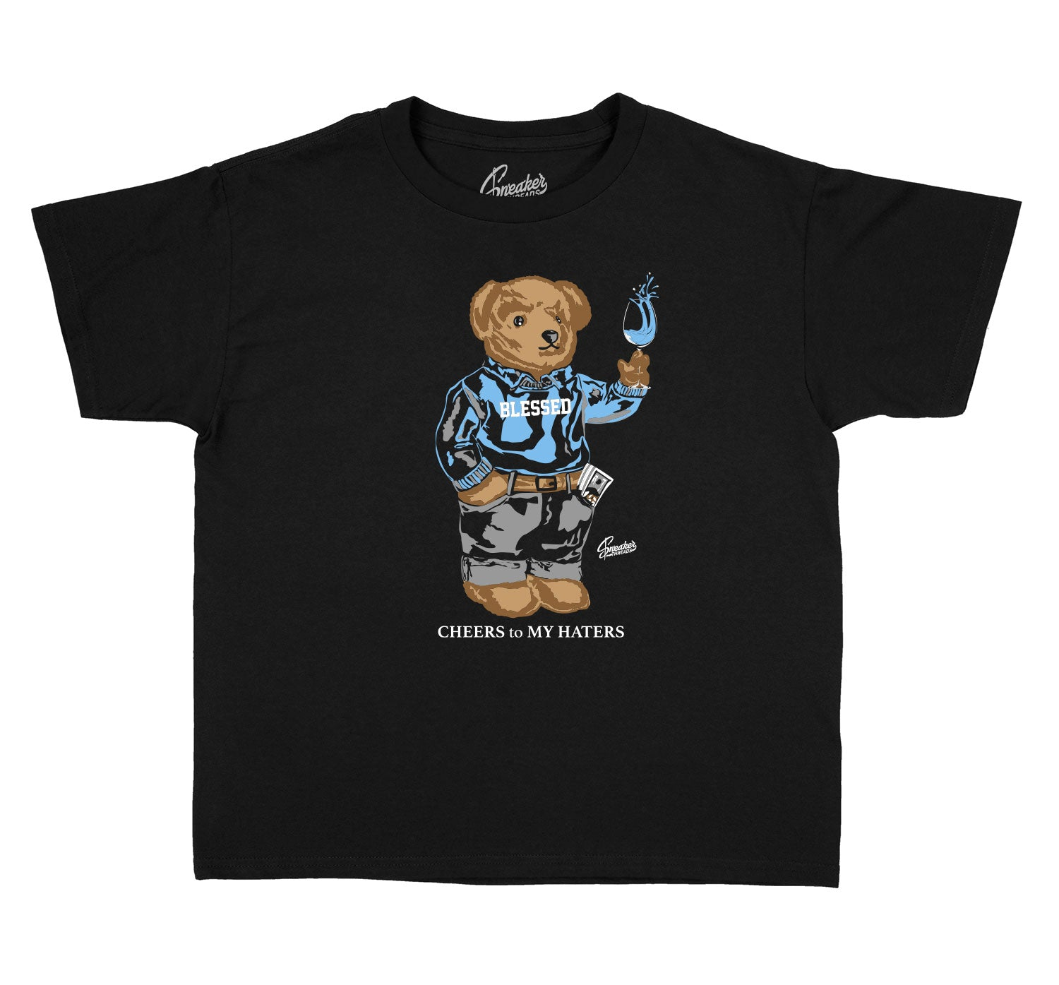 Kids University Blue 9 Shirt - Cheers Bear - Black