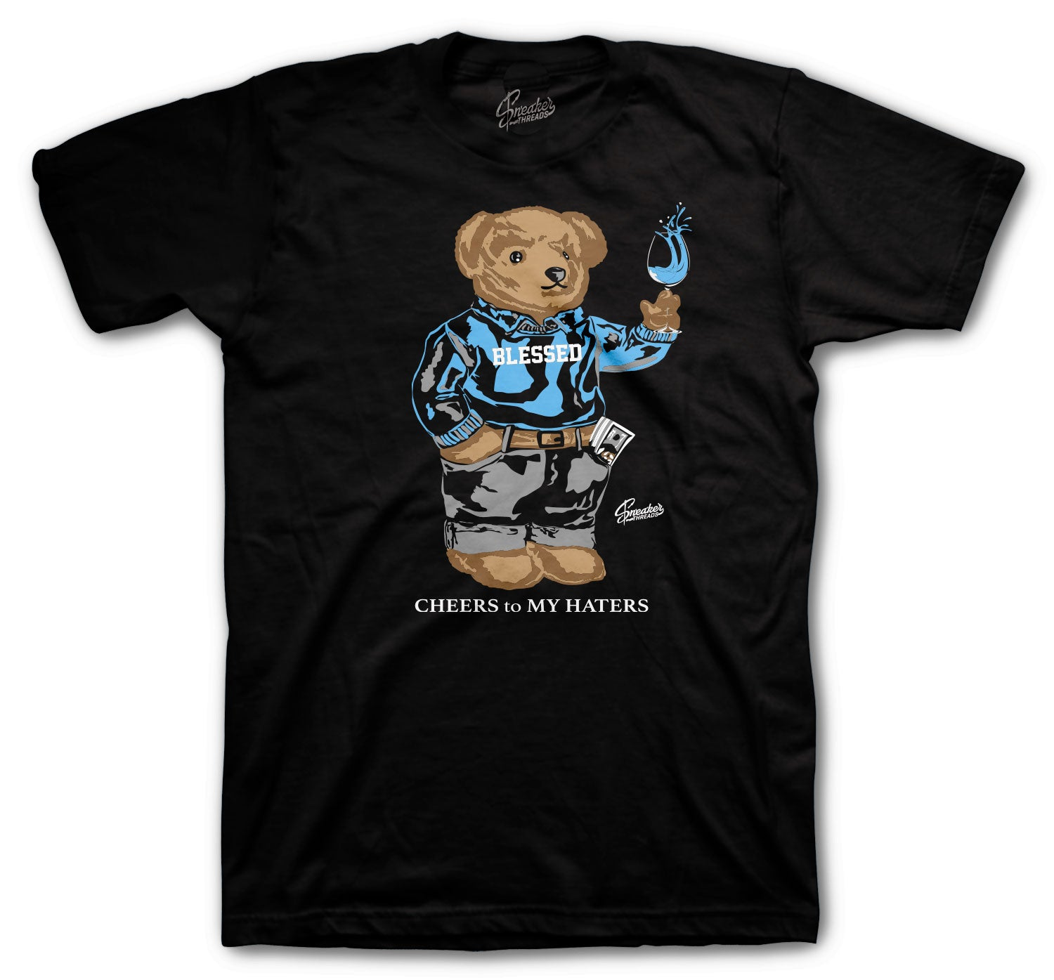 Jordan 9 University Blue Shirt - Cheers Bear - Black