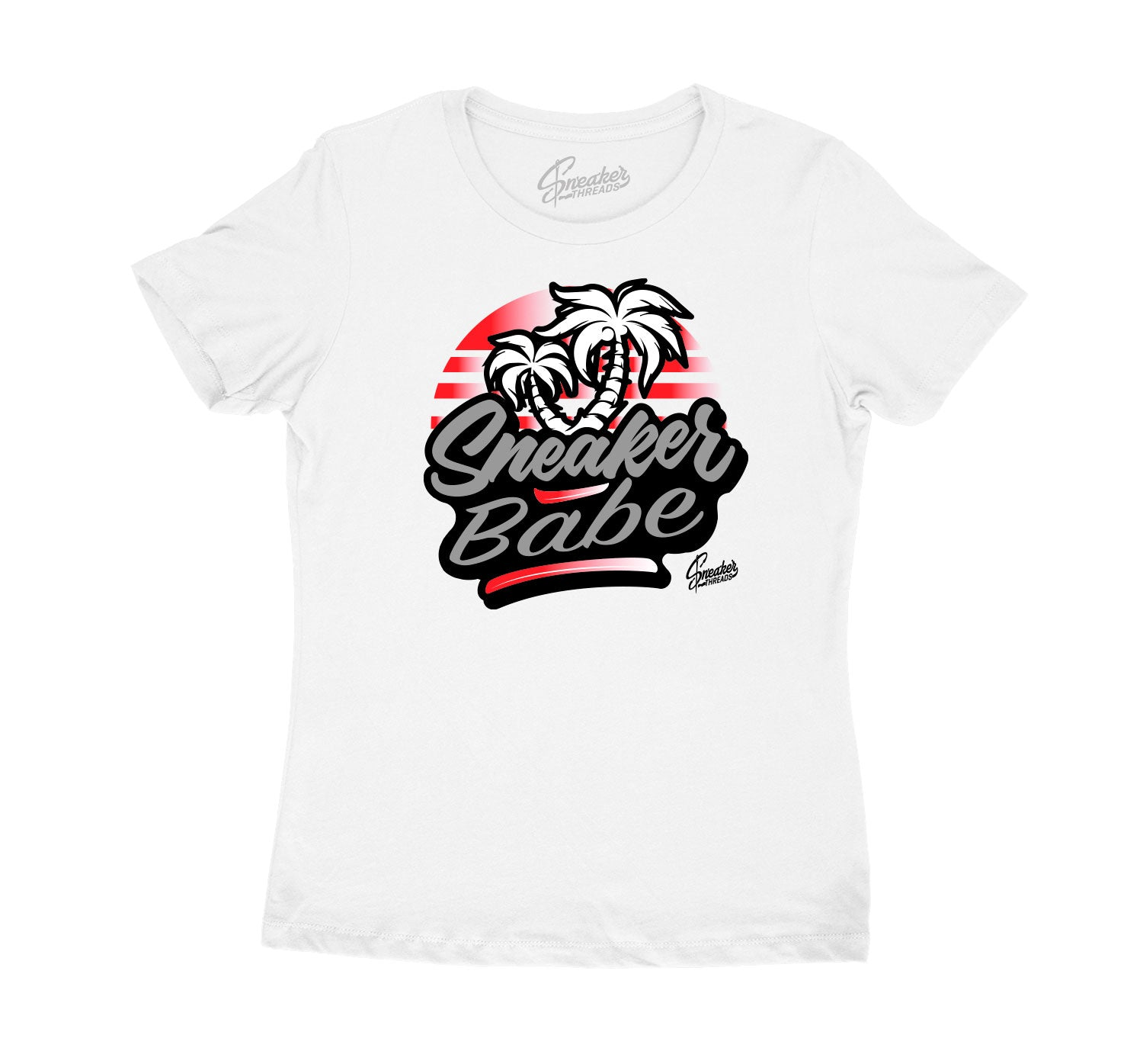 Womens Red Cement 3 Shirt - Sneaker Babe Palms - White