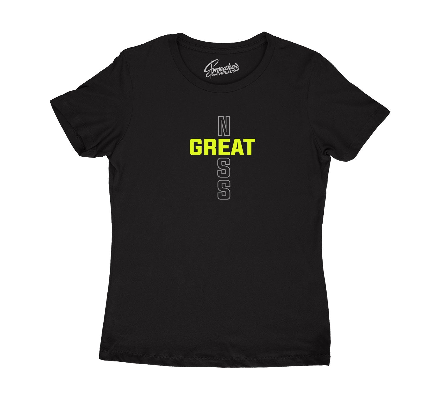 Womens Neon 4 Shirt - Greatness Cross - Black