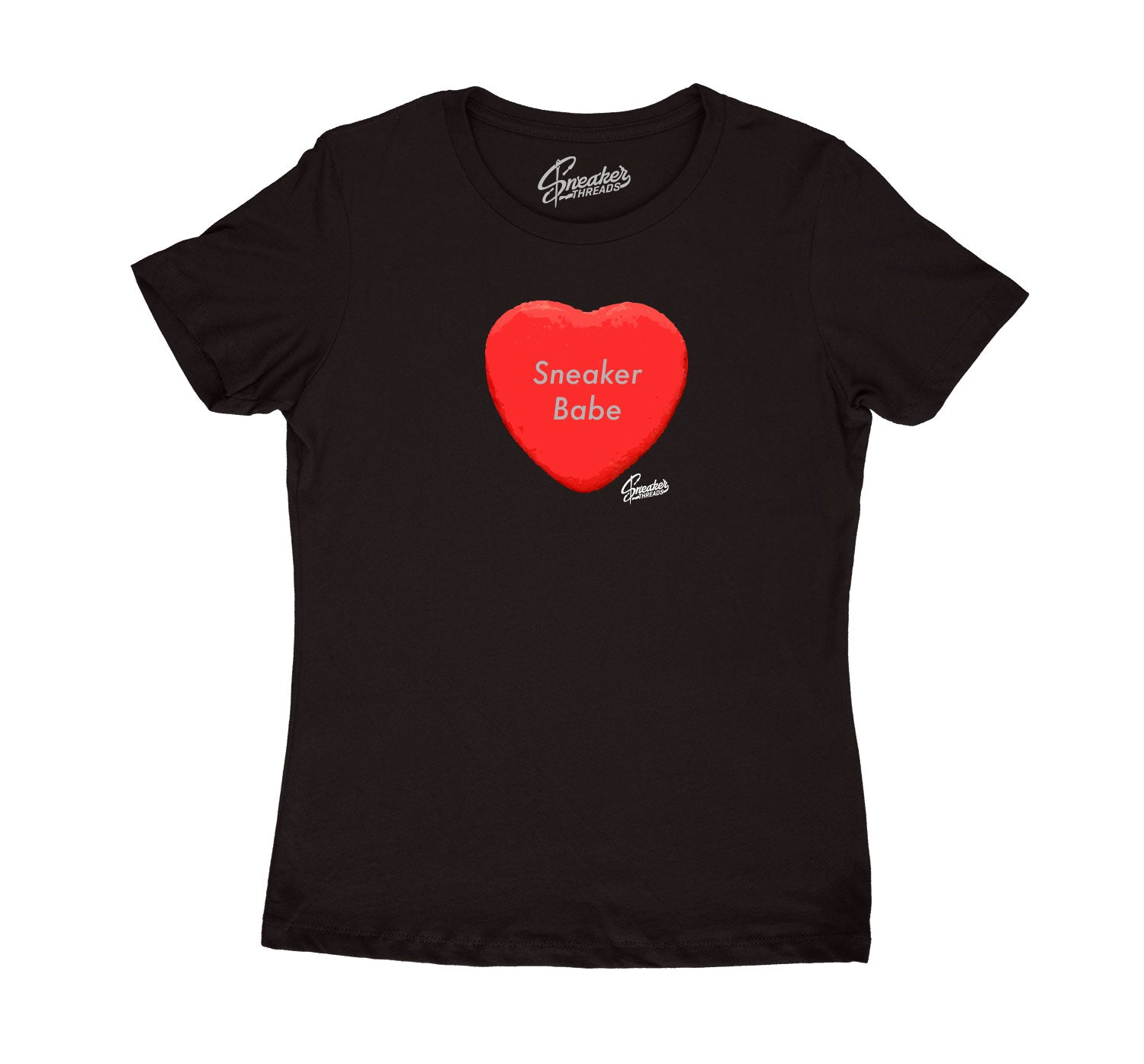 Womens Red Cement 3 Shirt - Candy Heart - Black