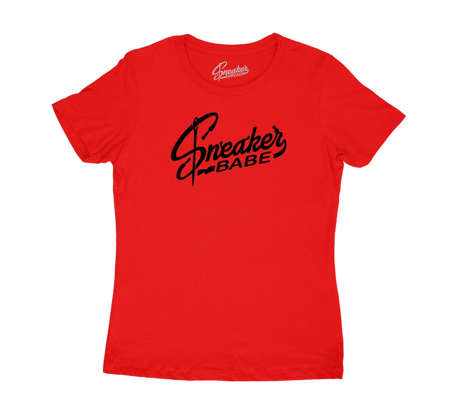 Womens Red Cement 3 Shirt - Sneaker Babe Logo - Red