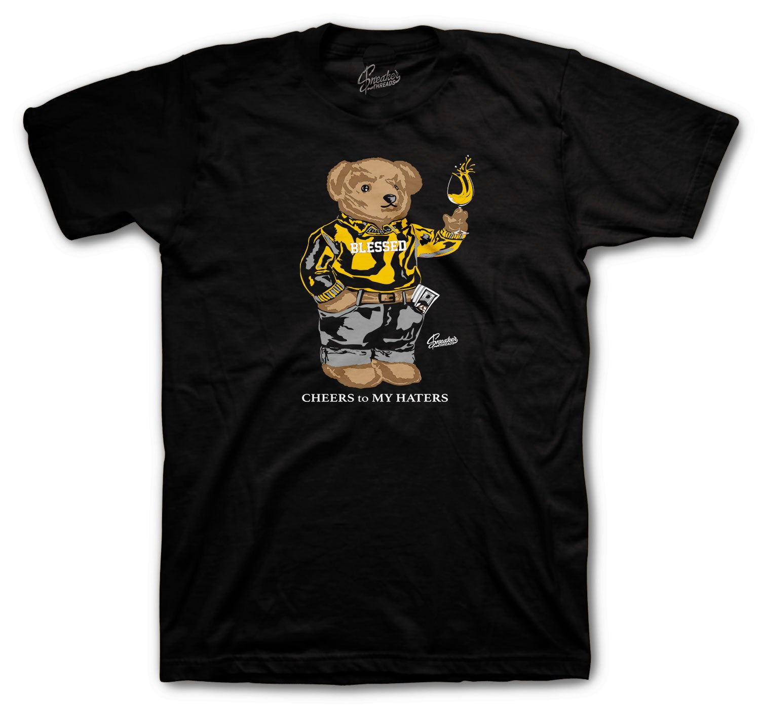 Jordan 9 University Gold Shirt - Cheers Bear - Black