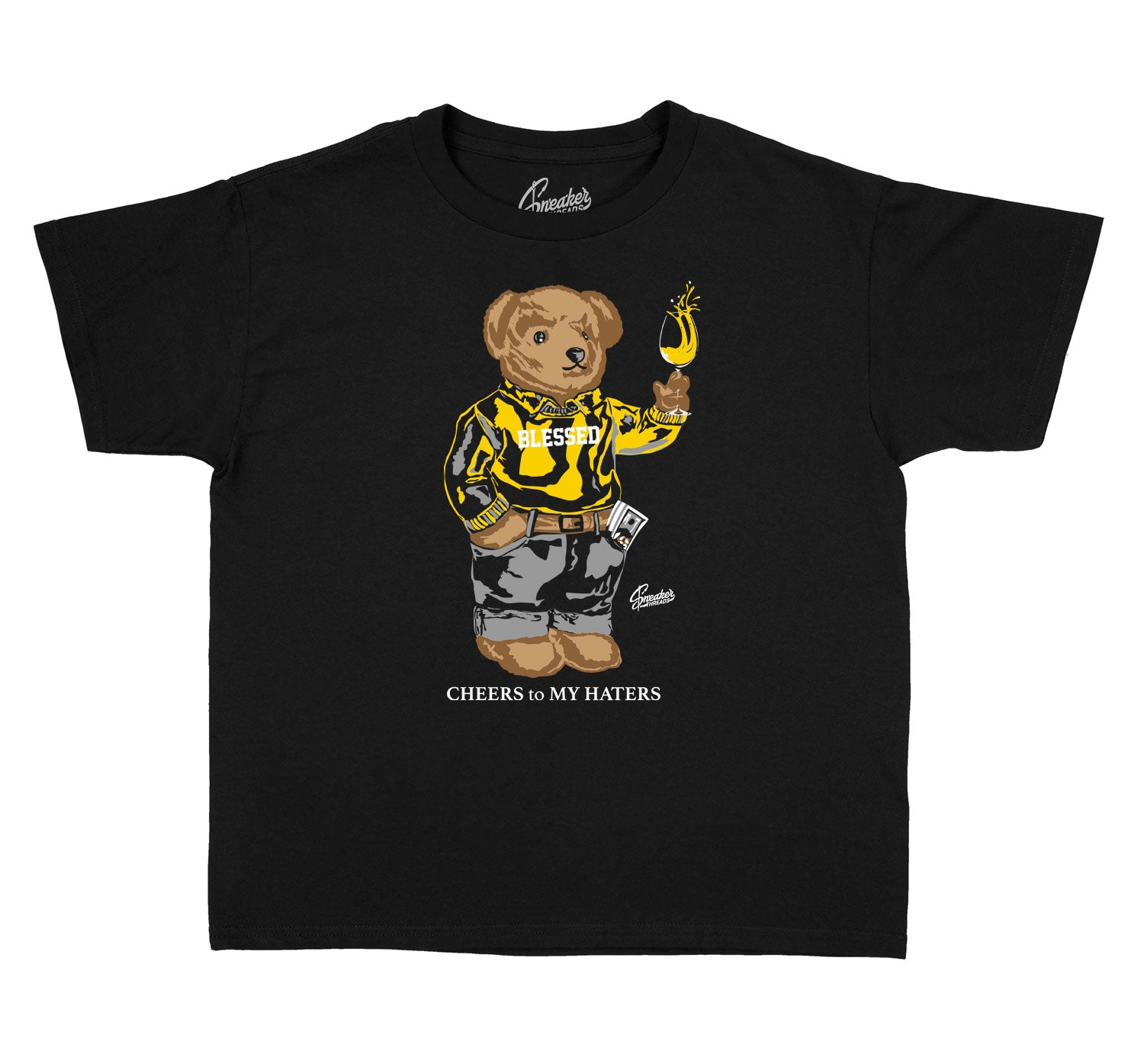 Kids University Gold 9 Shirt - Cheers Bear - Black