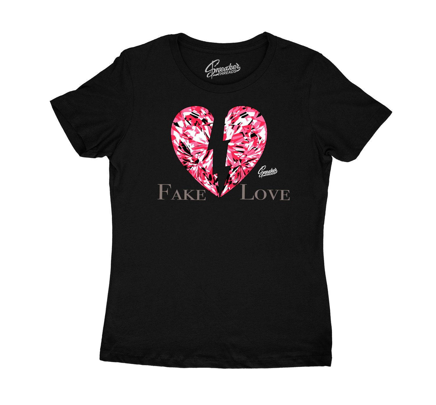 Womens Taupe Haze 4 Shirt - Fake Love - Black