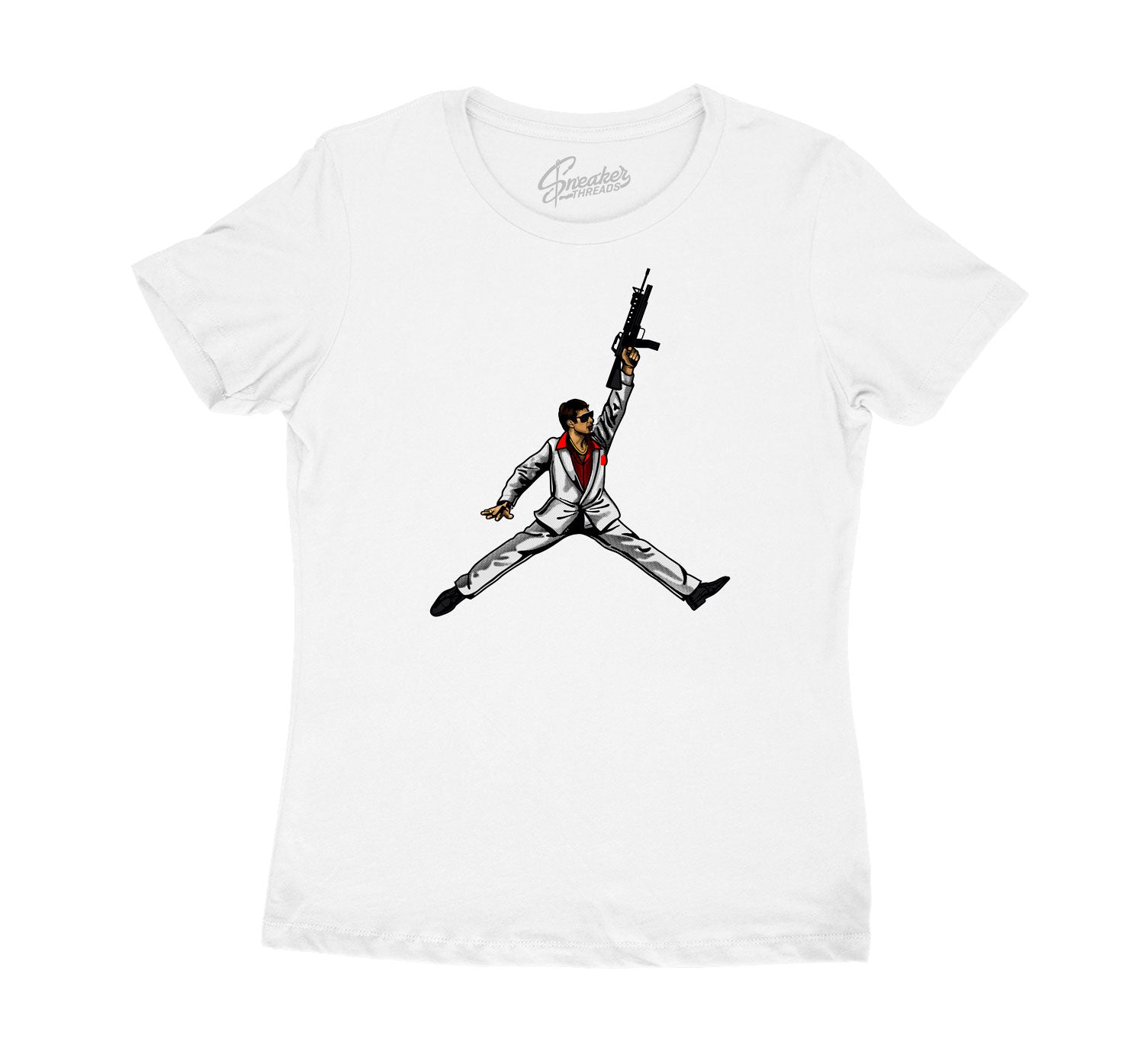 Womens Fire Red 4 Shirt - Air Tony - White