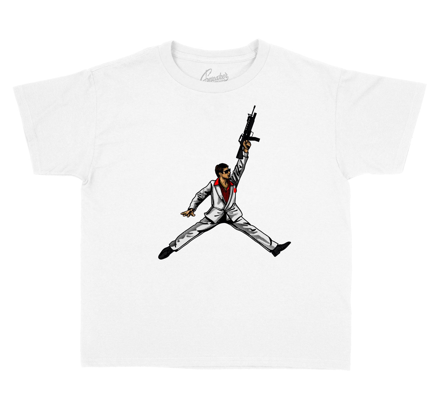 Kids Fire Red 4 Shirt - Air Tony - White