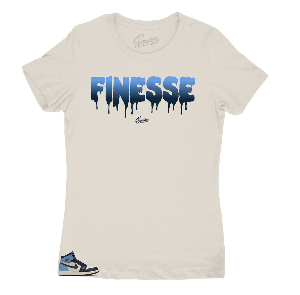 Jordan 1 Unc Obsidian womens sneaker has matching womens shirts made to match perfectly.