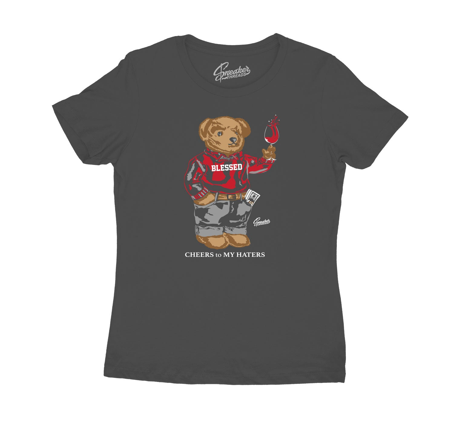 Womens - Red Flint 13 Shirt - Cheers Bear - Charcoal