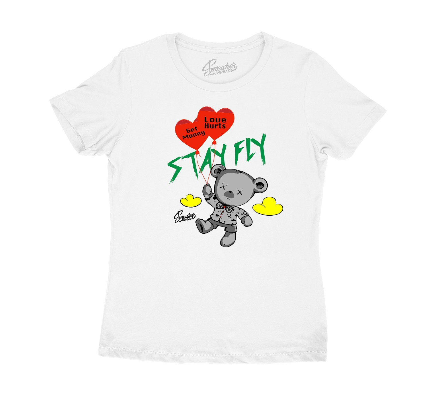 Womens Rasta 4 Shirt - Money Over Love - White