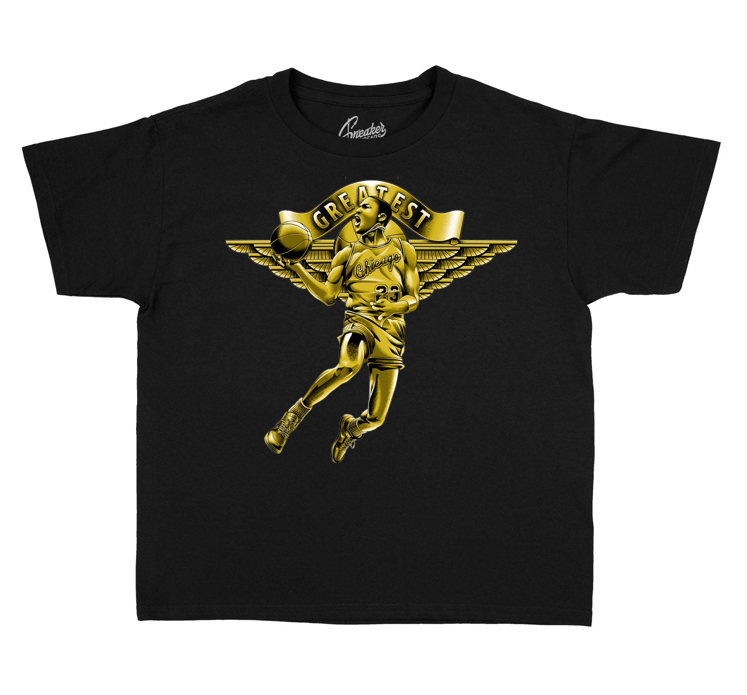 Black and Gold Jordan 1 sneaker collection matches with kids t shirt