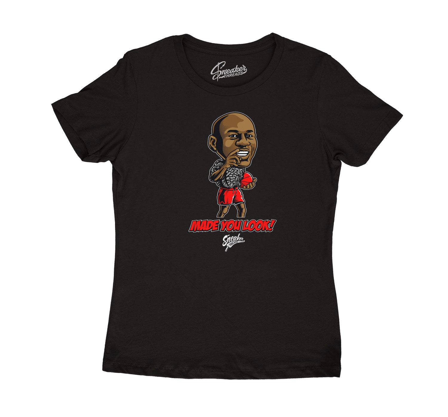 Womens Red Cement 3 Shirt - Made You Look - Black