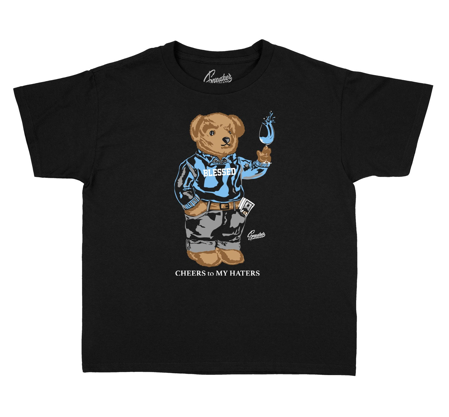 Kids University Blue 1 Shirt - Cheers Bear - Black