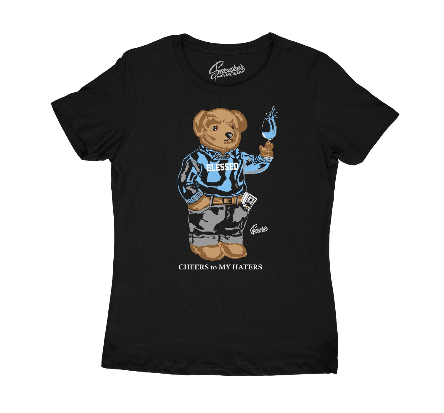 Womens University Blue 1 Shirt - Cheers Bear - Black