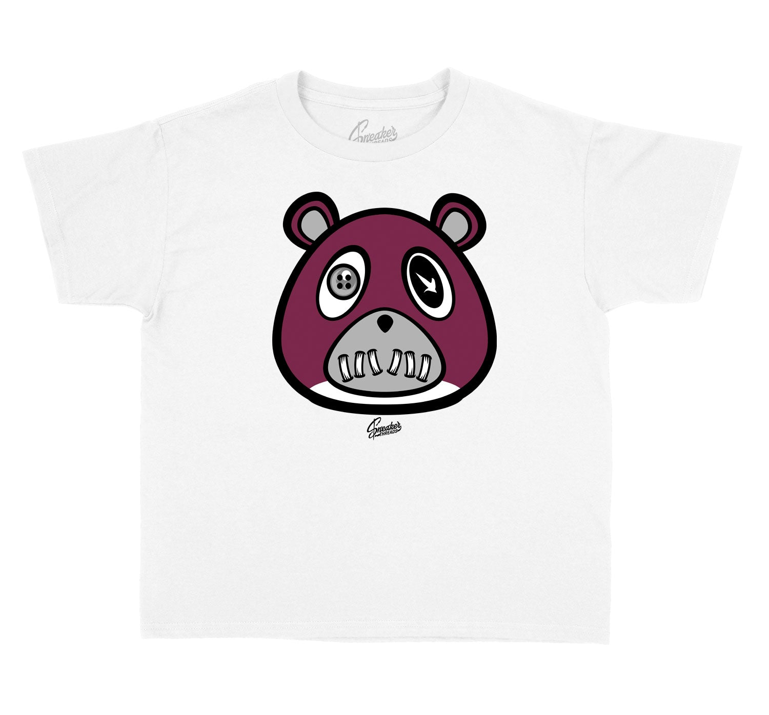 Jordan 8 burgundy sneaker that goes with kids tee collection