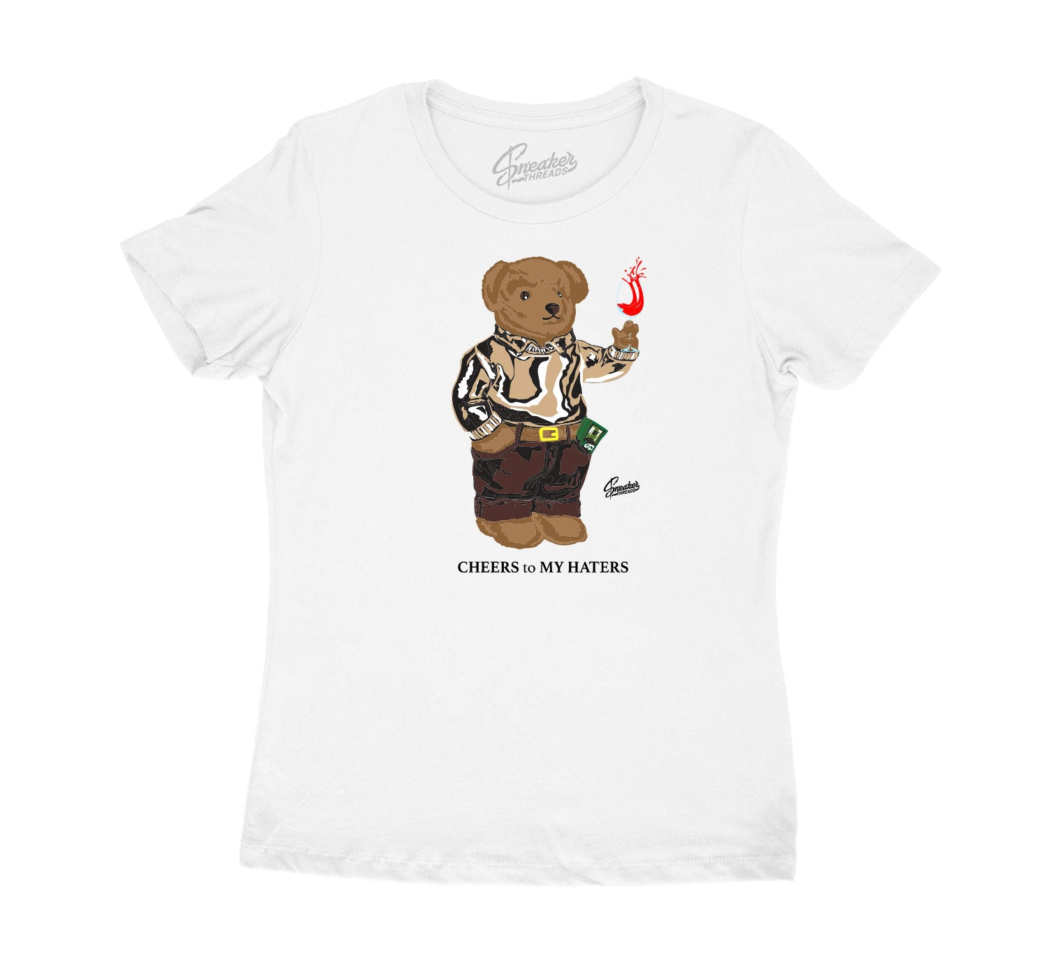 Womens Mushroom 4 Shirt - Cheers Bear - White