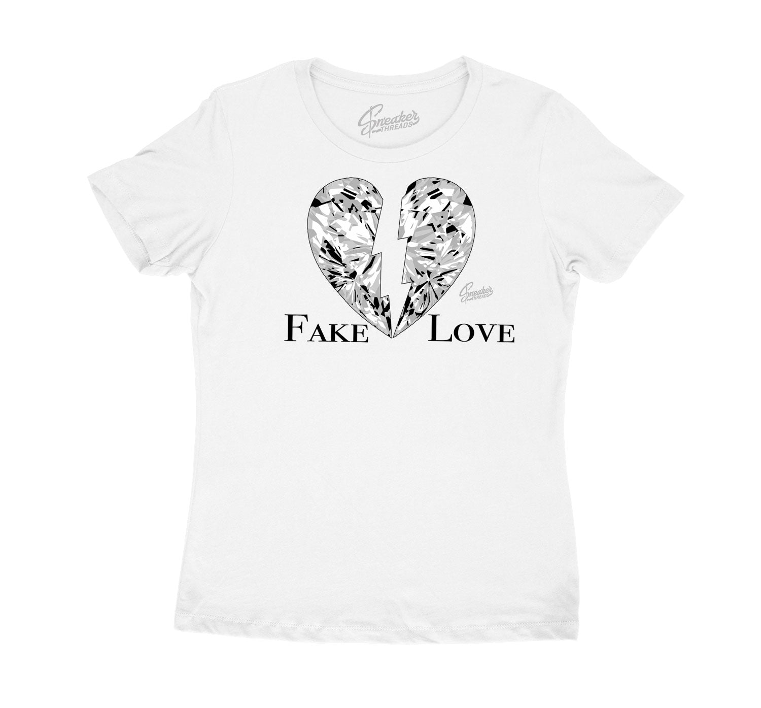 Womens Silver Toe 1 Shirt - Fake Love - White