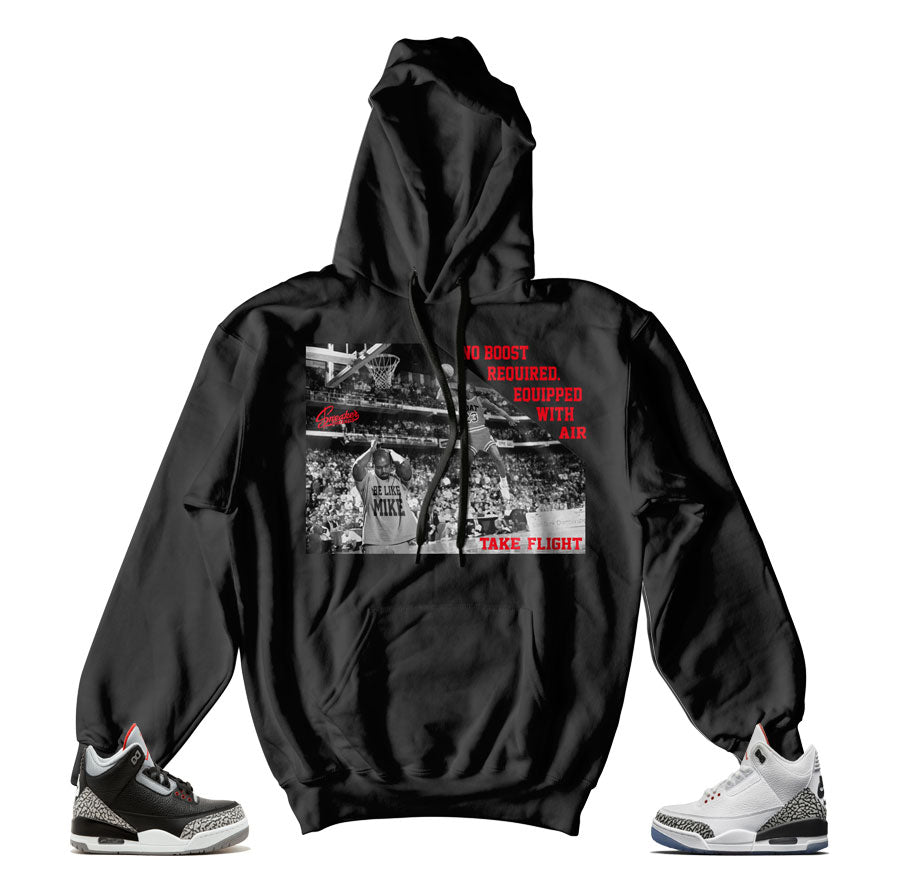 Official hoodies match Jordan 3 black cement shoes.