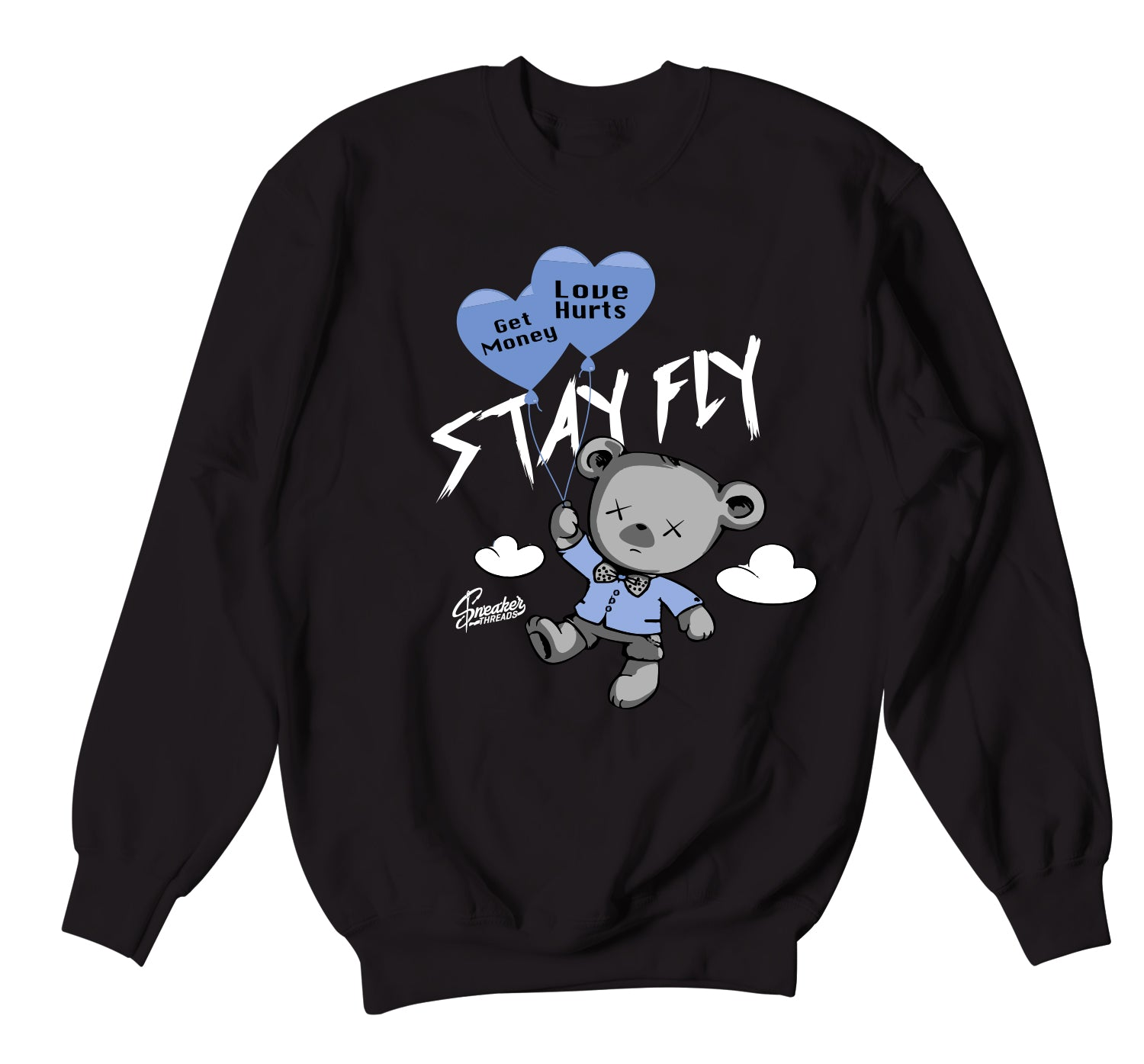 Jordan 3 UNC Sweater - Money Over Love - Black