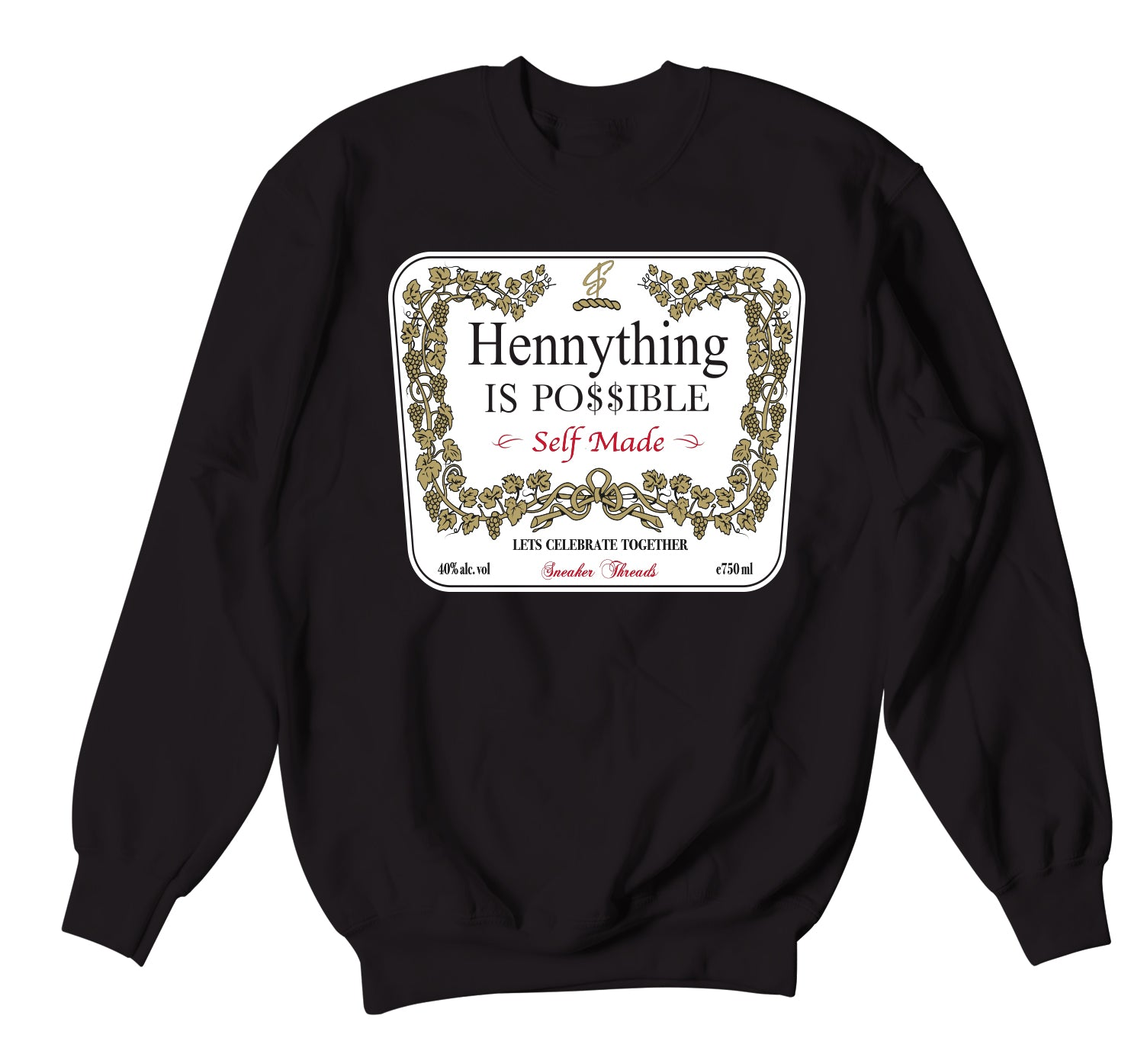 Jordan 11 Bred Sweater - Hennything - Black