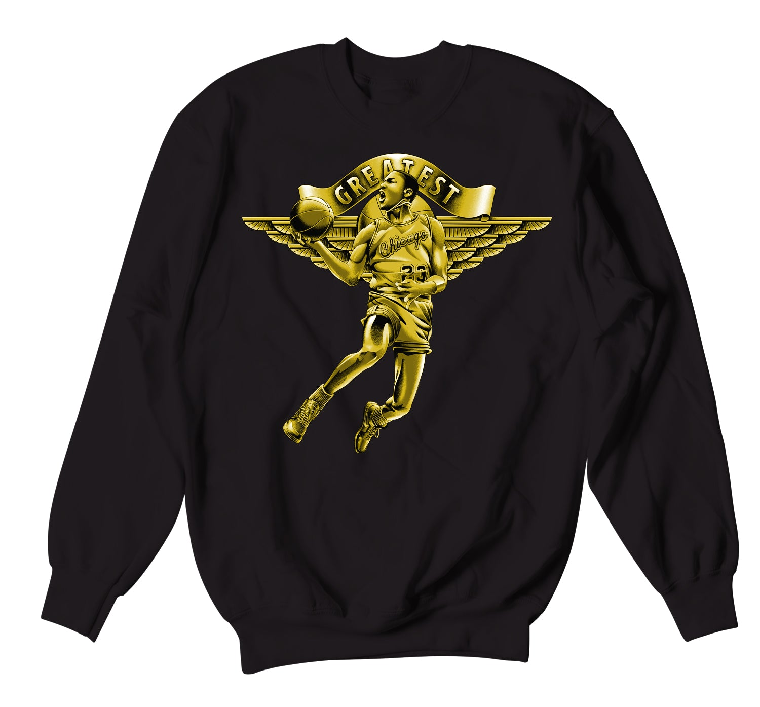 Black Gold Jordan 1 sneaker collection matching with guys tcrewneck sweaters