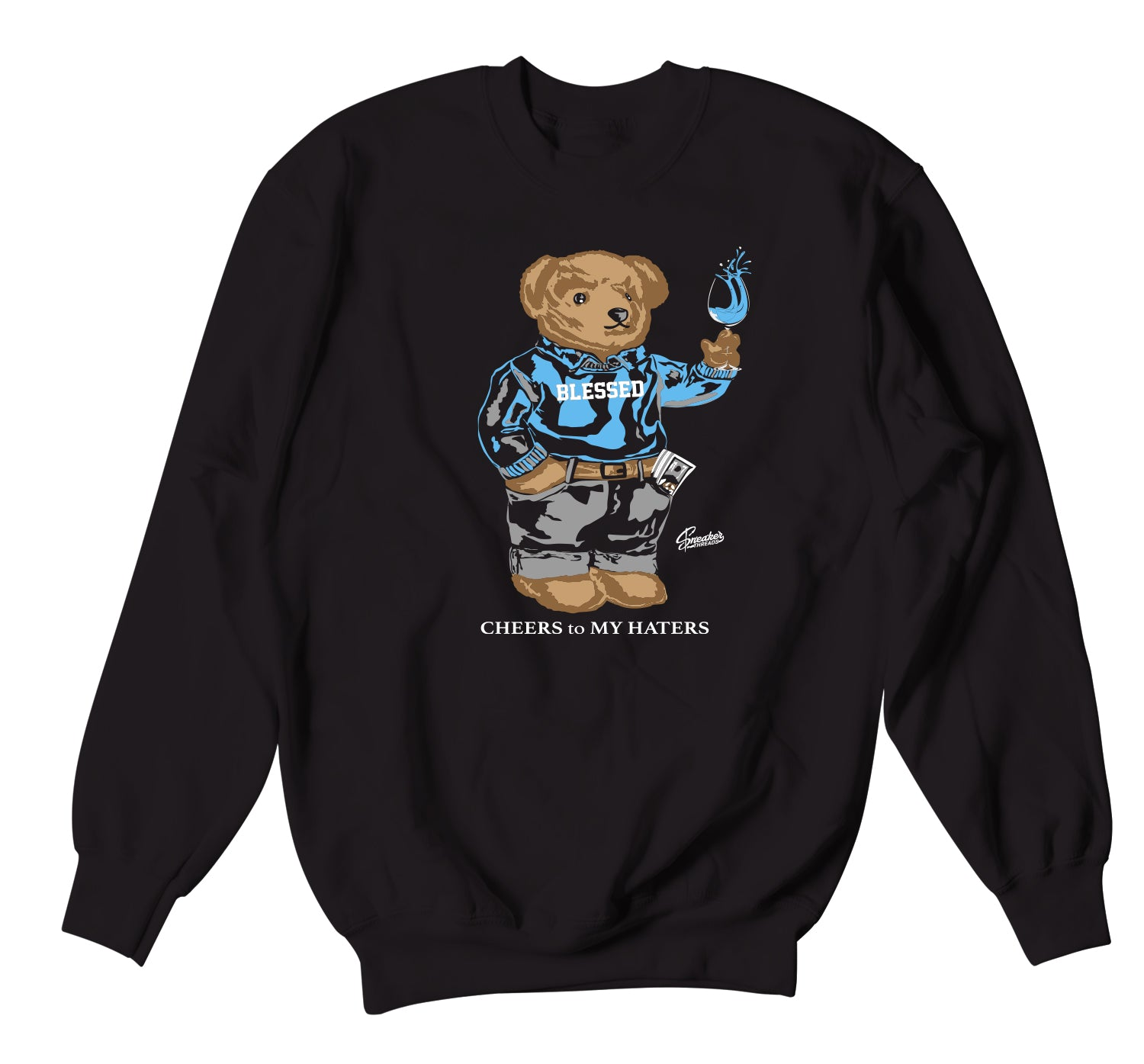 Jordan 9 University Blue Sweater - Cheers Bear - Black