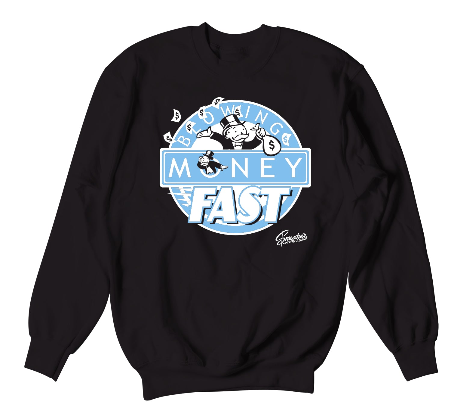 crewneck designed to match eh Jordan 9 university blue sneaker collection
