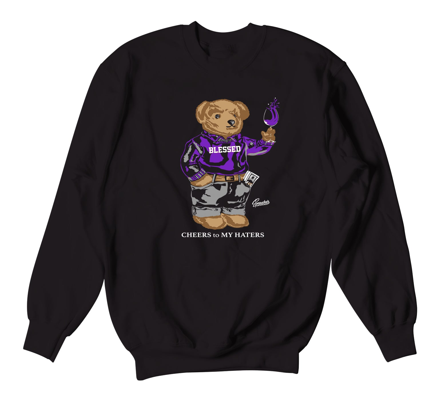 Crewneck sweater collection matching the Jordan 1 court purple sneaker collection
