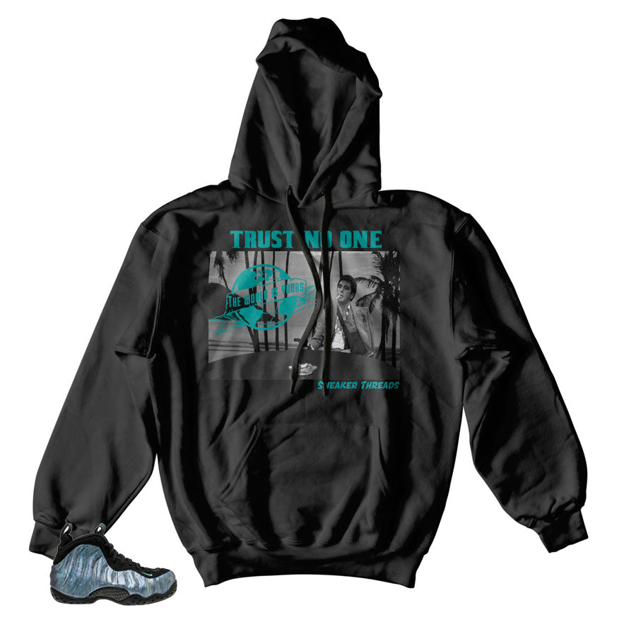 Foamposite abalone hoodies match foams | Aurora green foam clothing
