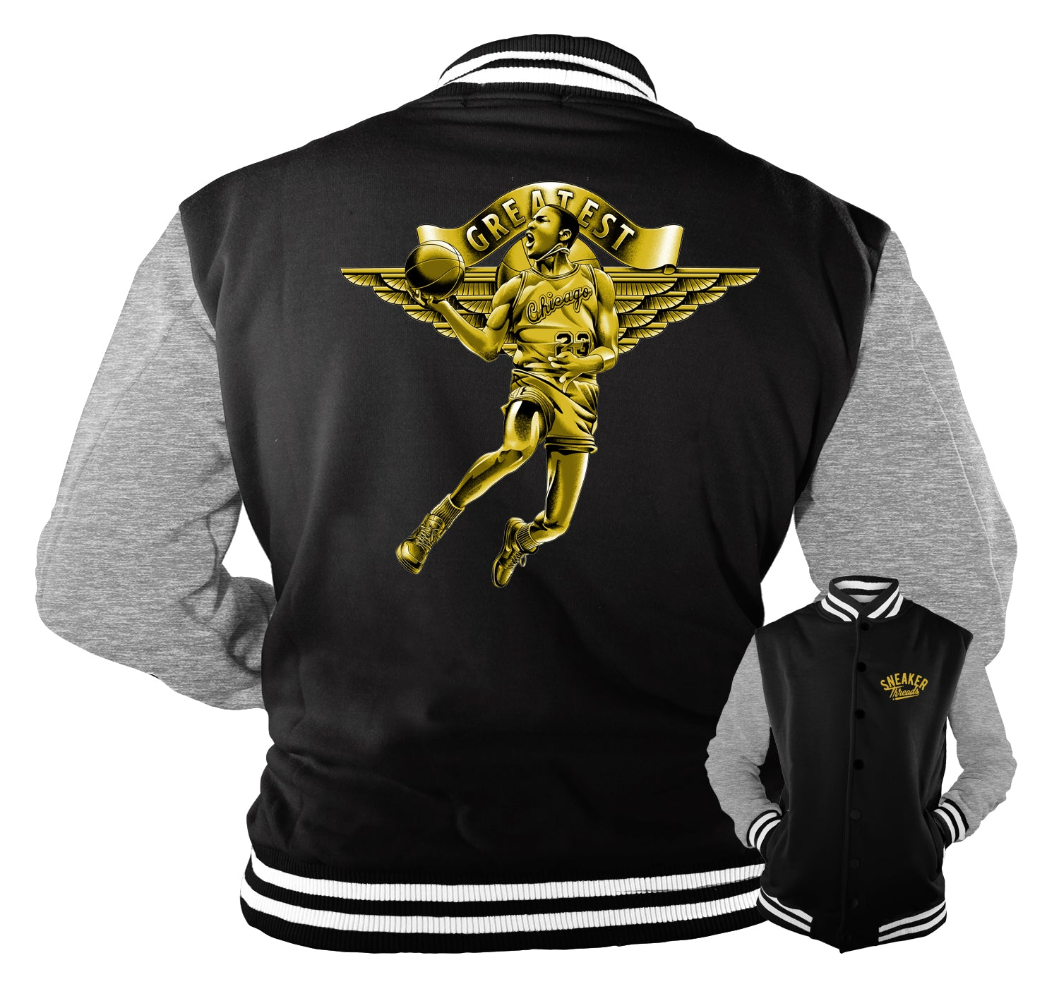 Jordan 1 Black Gold Jacket - Greatest - Black