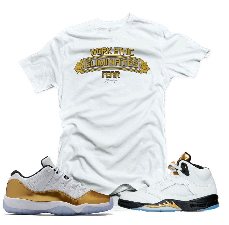 0153dc604fc087 Home Jordan 5 Gold Tongue Shirt - Work Ethic - White. Share