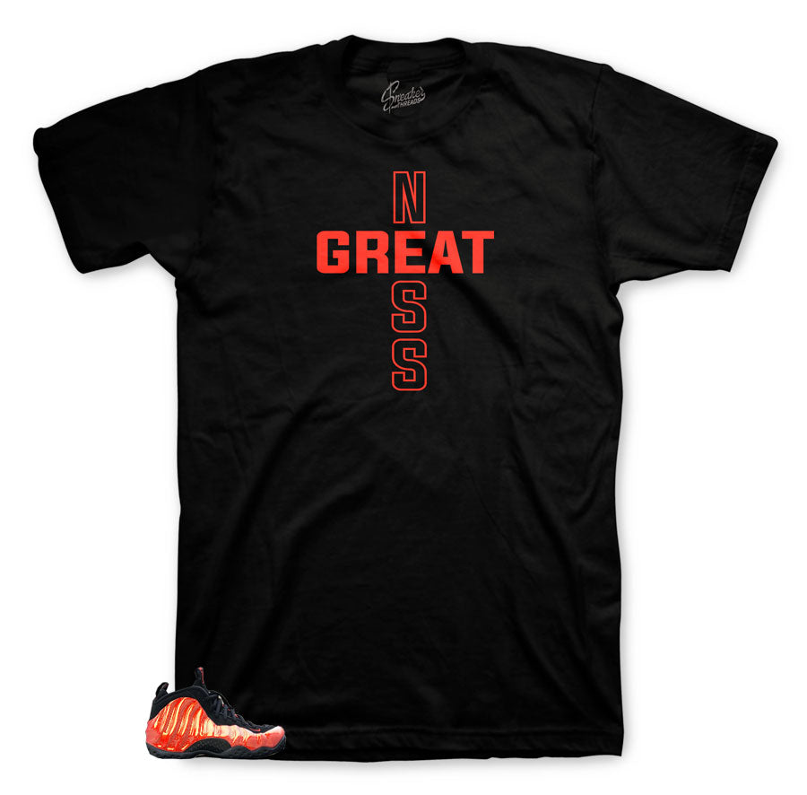 Greatness unique shirts to match Foamposite Habanero red