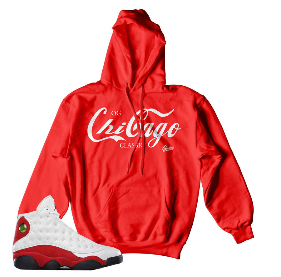 Jordan 13 OG Chicago hoodies match retro 13 hoody.