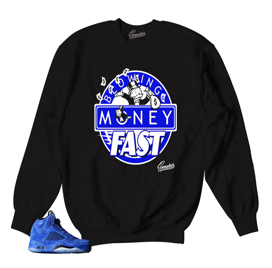 Jordan 5 blue suede official sweaters match shoes.