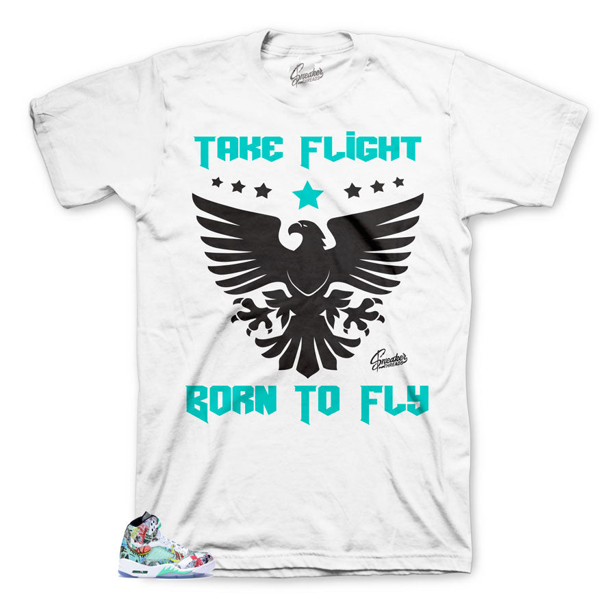 promo code 5228f 32a6d Home Jordan 5 Wings Shirt - Born to Fly - White. Share