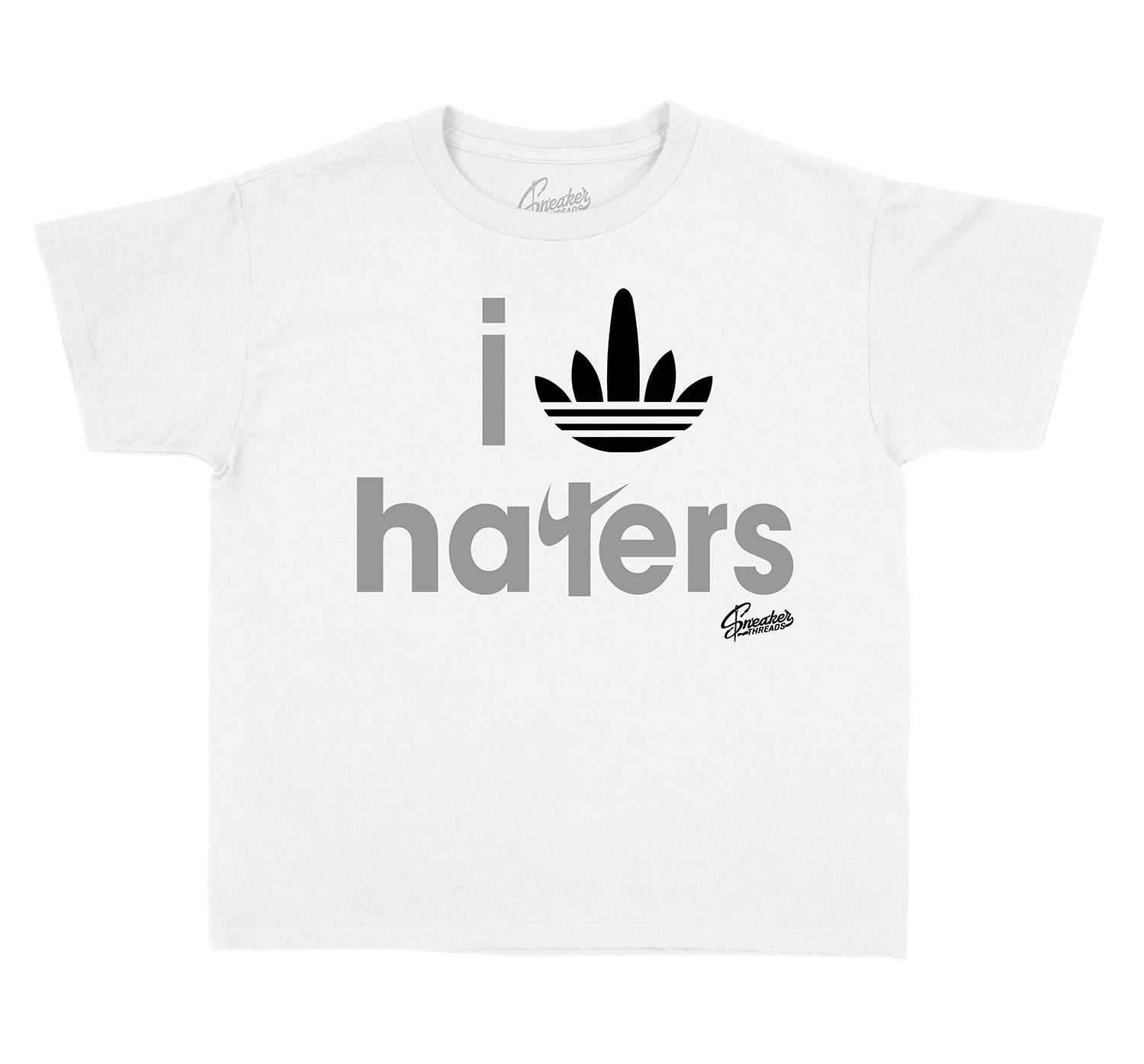 Yeezy 350 Cloud White Stripe Haters Kids shirt to match