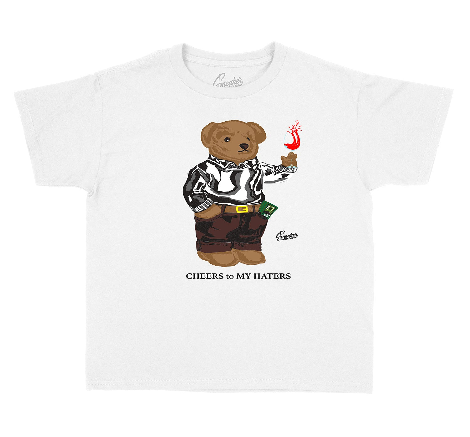 Yeezy Cloud White 350 Cheers Bear shirt for kids