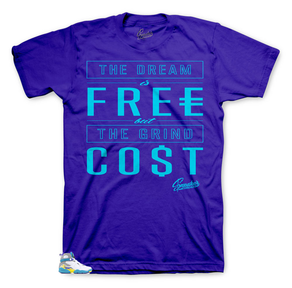 Jordan 8 White Aqua Purple shirt to match fit| Cost tee