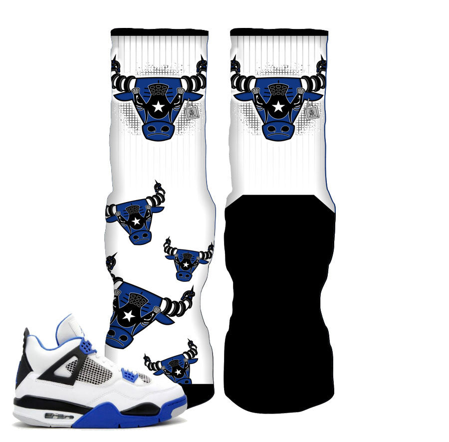 Jordan 4 motorsports socks match retro 4 shoes.
