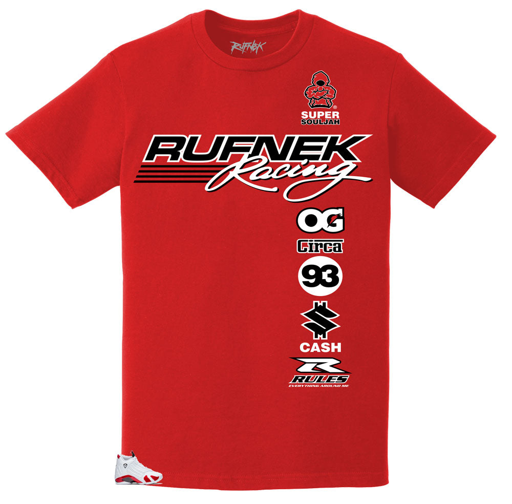 28a80aaf564f89 Rufnek Racing type shirts to wear with Jordan 14 Candy Cane