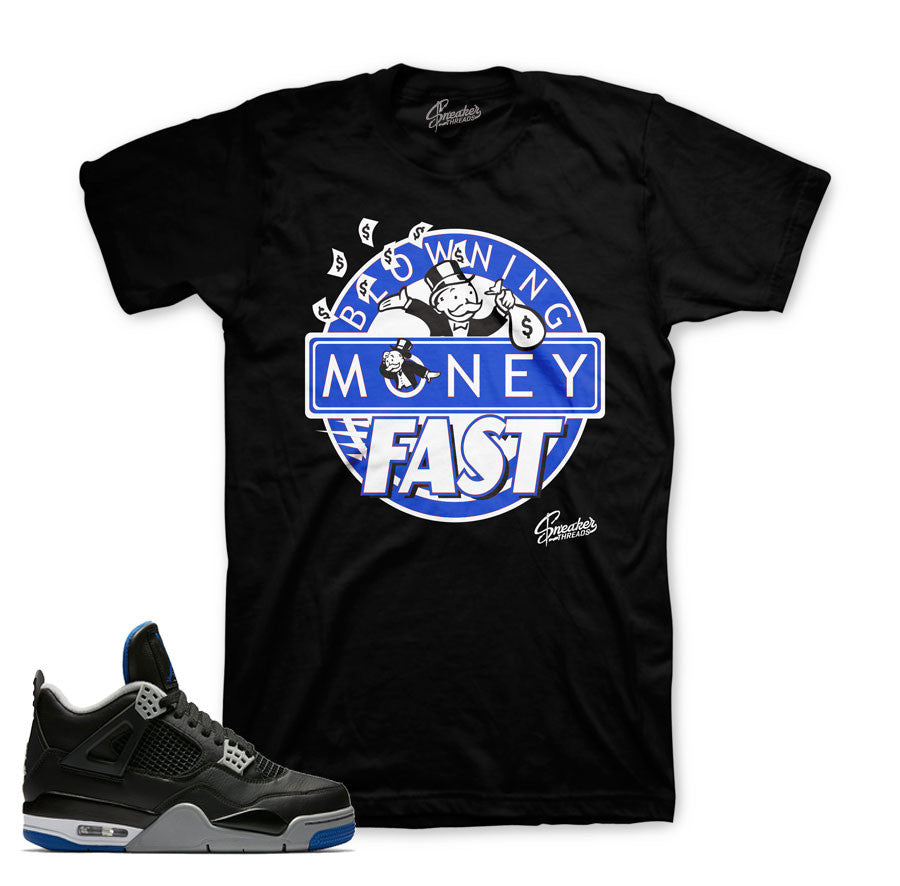 Jordan 4 black royal motorsport shirts official clothing.